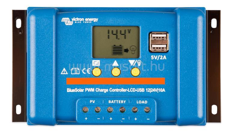 VICTRON ENERGY BlueSolar PWM 10A töltésszabályzó 12/24V USB