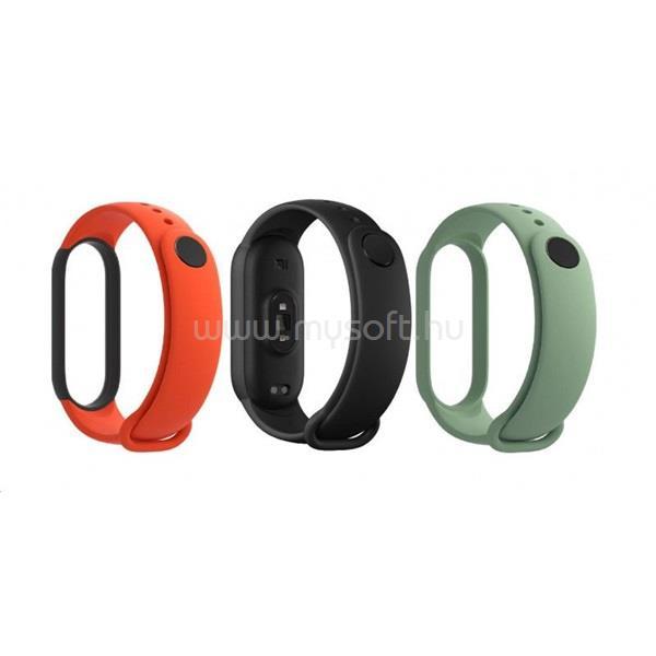 XIAOMI BHR4639GL Mi Smart Band 5 3db ( fekete, narancs, cyan ) szilikon pánt csomag