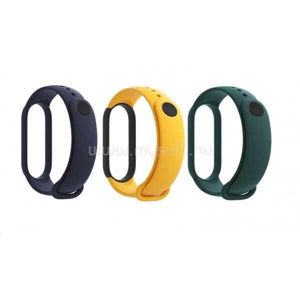 XIAOMI BHR4640GL Mi Smart Band 5 3db ( kék, sárga, zöld ) szilikon pánt csomag